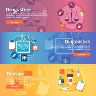 Medical and health s set. drug store. pharmacy. diagnostics. therapy. medicine. pills. modern   illustrations. horizontal banners.