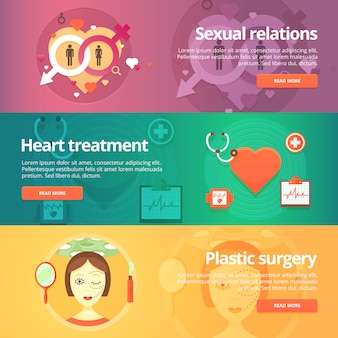 Medical and health s set. sexology. heart treatment. cardiology. anaplasty. plastic surgery. modern   illustrations. horizontal banners.