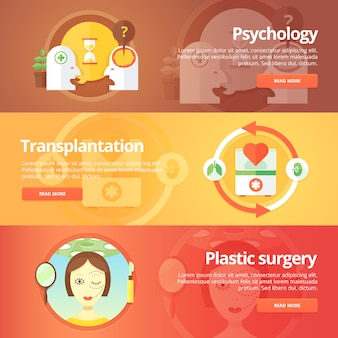 Medical and health s set. sexology. transplantation. organs donation. anaplasty. plastic surgery. modern   illustrations. horizontal banners.