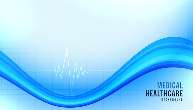 Medical healthcare background with blue wavy shape