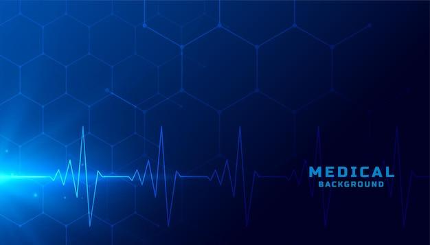 Sfondo sanitario medico con linee di battito cardiaco