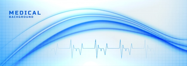 Medical and healthcare banner with heartbeat lines