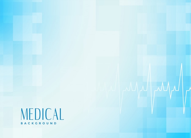 Medical healthcare blue background with cardiograph