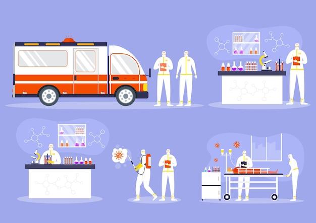 医療ヘルスケアの概念、防護服とマスクの人々は、オブジェクトをスプレーして消毒します。世界的な流行またはパンデミック。 covid-19、コロナウイルス病。化学の労働者はウイルス検査を行います。ベクター