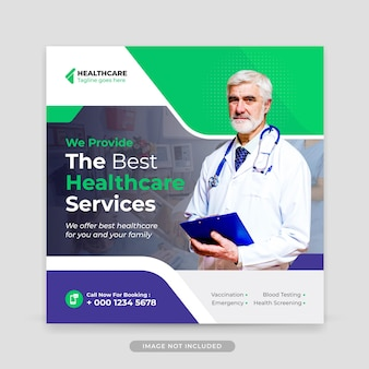 Medical healthcare editable social media post and web banner template