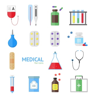 Medical healthcare equipment icon set on a light background.