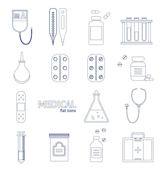 Medical healthcare equipment thin line icon set on a background design style. vector illustration