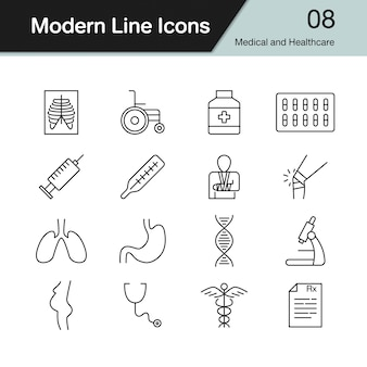 Medical and healthcare icons.