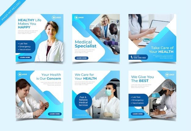 Medical healthcare instagram post collection template