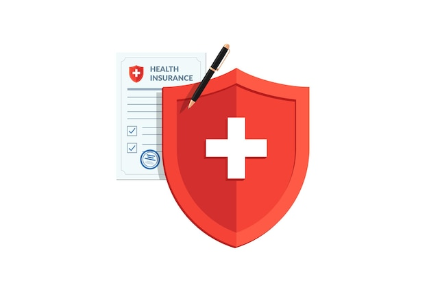 Medical healthcare insurance concept red shield on patient protection policy and pen vector medicine