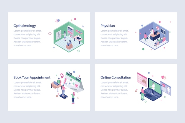 Medical and healthcare isometric illustrations