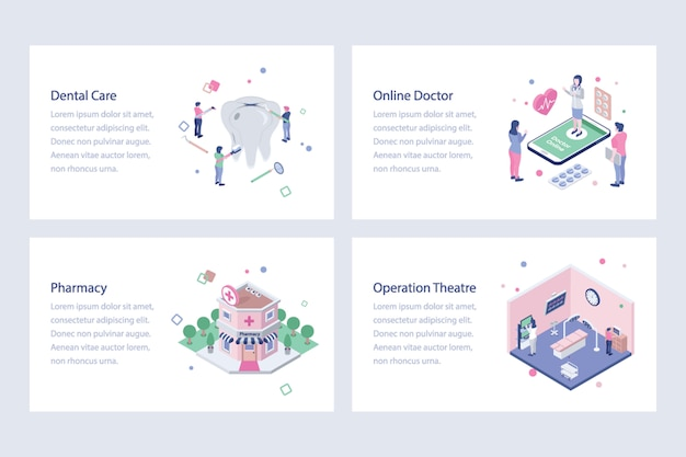 Medical and healthcare isometric vectors