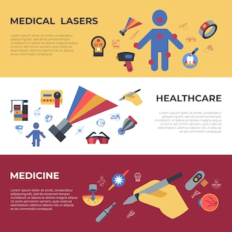 Medical healthcare lasers icons