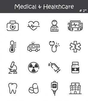 Medical and healthcare line icon set
