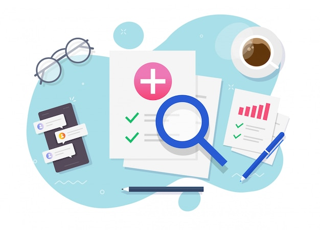 Medical healthcare research patient report workplace or health care insurance check list table vector flat cartoon design