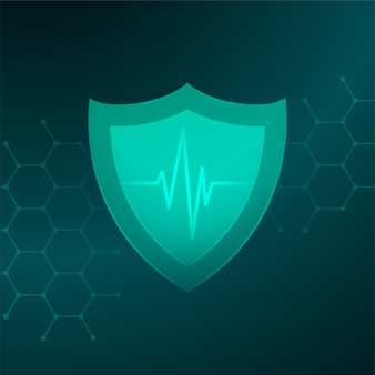 Medical healthcare shield with heartbeat line concept