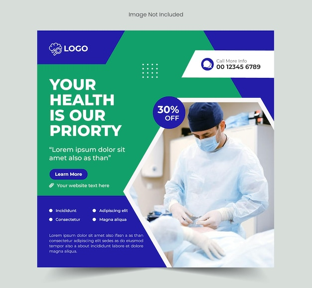 Медицинский медицинский пост в социальных сетях и шаблон веб-баннера