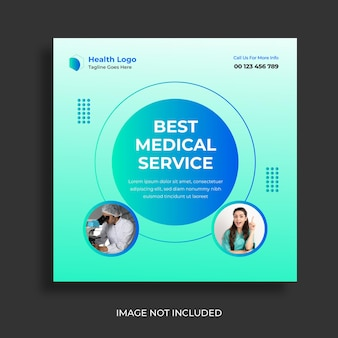 Medical healthcare social media post and web banner design template