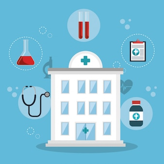 Medical healthcare with set icons