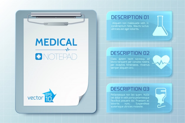 Medical healthy infographics with notepad and banners with text and icons on light illustration