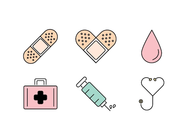 Medical healthy pastel icon flat line style vector