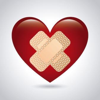 白い背景の上の医療心臓デザイン