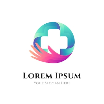 Medical help and care logo Premium Vector