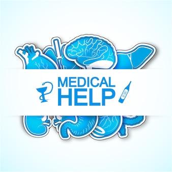 Poster di aiuto medico con molte immagini di organi umani compreso il cuore