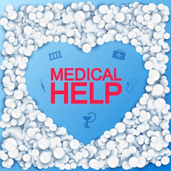 Medical help with heart shape pills and icons on blue