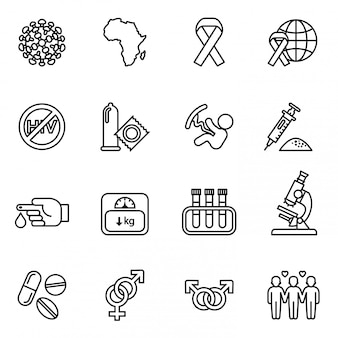 Medical hiv aids icons set. world aids day concept.
