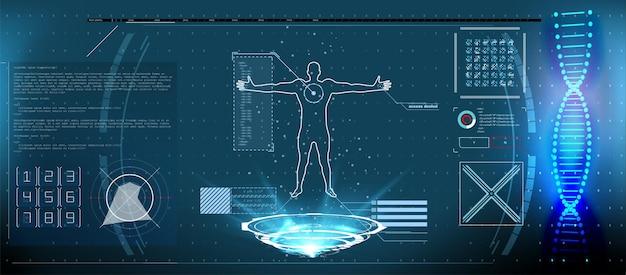 신체가있는 의료용 홀로그램, hud 스타일 dna 디지털 검사, 시퀀스, 글로우가있는 코드 구조. hud 요소 ui 건강 진단. 가상 인터페이스 요소 세트를 표시합니다.