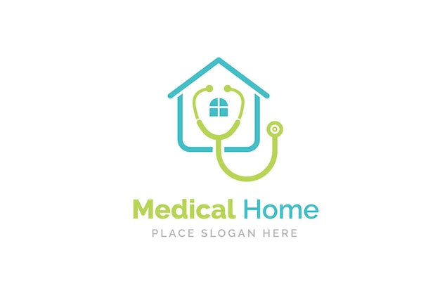 Medical home logo design with stethoscope icon.