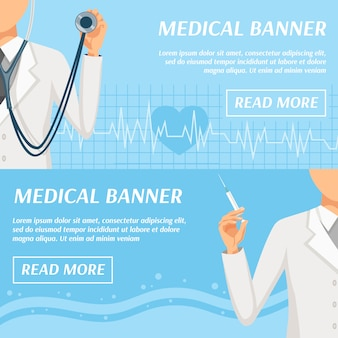 Medical horizontal banners webpage design