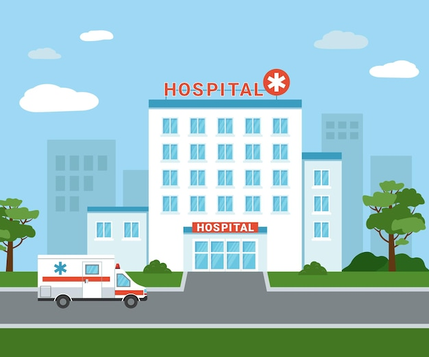 Medical hospital building outside. an ambulance car next to the hospital building. isolated medical facility exterior view with trees and clouds on the background. flat vector illustration