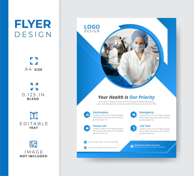 Medical hospital flyer template