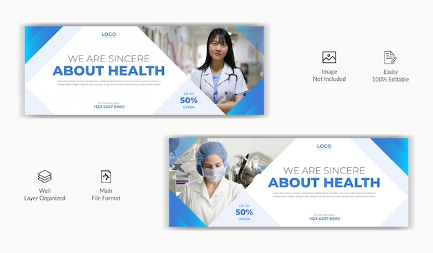 Medical hospital health care center social media post facebook cover page timeline online website banner template