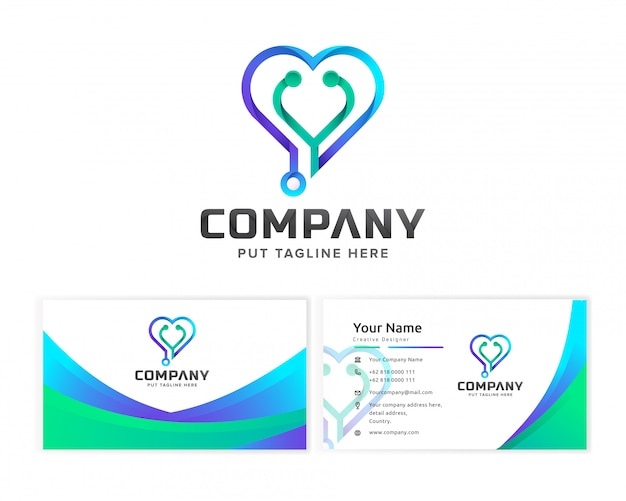 Medical hospital logo template for company with business card