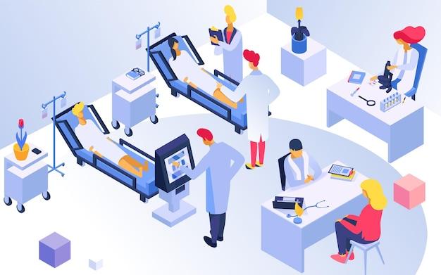医療病院の場所専門医のキャラクターは、患者の治療検査室を治療します。