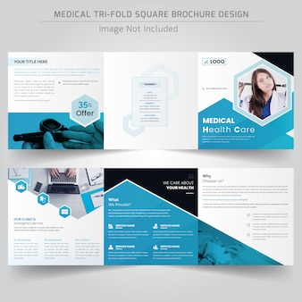 Medical or hospital square trifold brochure