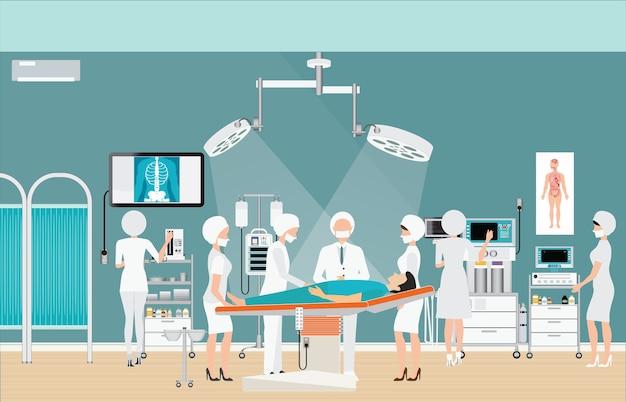 Medical hospital surgery operation room interior