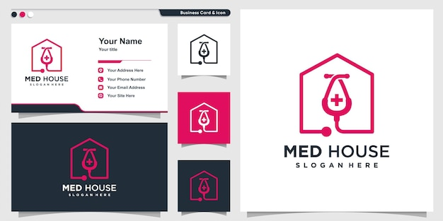 Medical house logo with line art style and business card design template premium vector