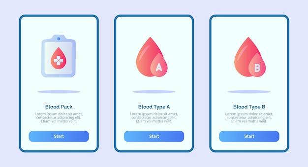 Медицинский значок пакет крови группа крови a группа крови b для мобильных приложений шаблон баннерной страницы ui
