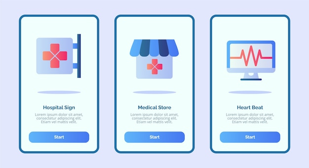 Medical icon hospital sign medical store heart beat for mobile apps template banner page ui