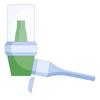 白い背景で隔離のフラットスタイルの喘息患者のための吸入器の医療アイコン