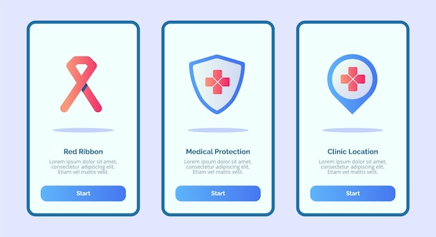 Medical icon red ribbon medical protection clinic location for mobile apps template banner page ui