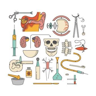 医療アイコンセット、概要図。耳、はさみ、目、注射、脳、頭蓋骨、骨、創傷、歯、軟膏、手術、メス、タブレット、ドロップカウンター