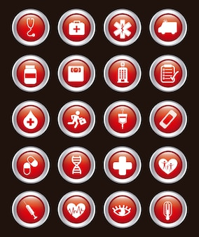 Medical icons over black background vector illustration