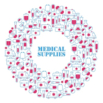 Medical icons in round frame composition,  illustration. symbols of first aid, hospital treatment, health care. pharmacy supplies, laboratory glassware