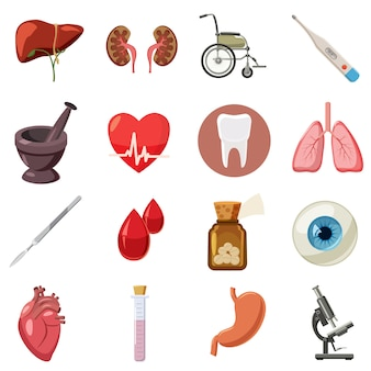 Medical icons set, cartoon style