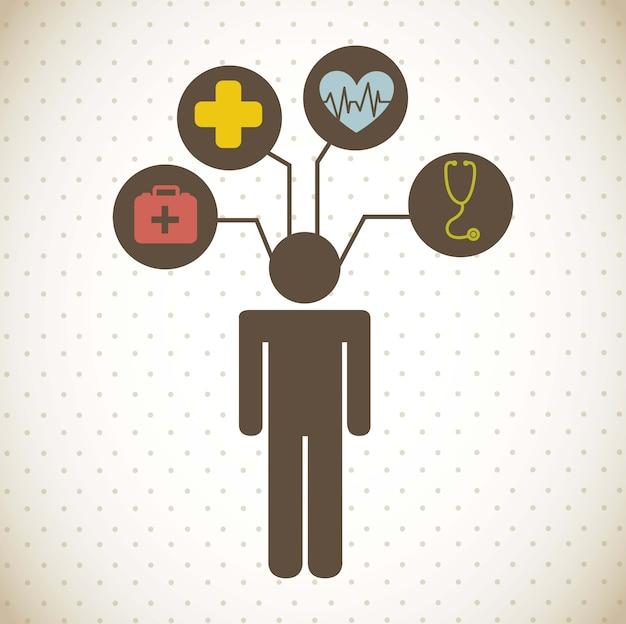 Medical icons over vintage background vector illustration